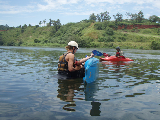 Learning to roll during the Uganda Kayak Schhol trip